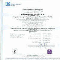 Cracker Plant BRC Global Standard for Food Safety Certificate